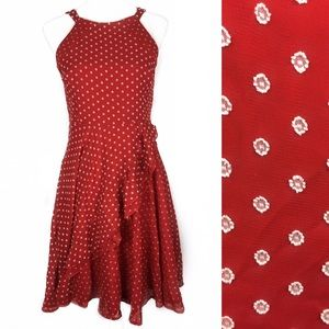 Eva Franco Red Dot Maryanne Cut Out Back Dress